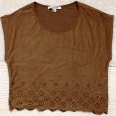 Floral cutout top Short sleeve (almost sleeveless - see photos) brown top with floral cutouts across the bottom.  Super soft material and in great condition! Forever 21 Tops