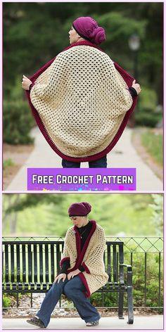 Crochet Granny Shrug Free Patterns for Ladies-Crochet Granny Cocoon Shrug Free Pattern with Video tutorial