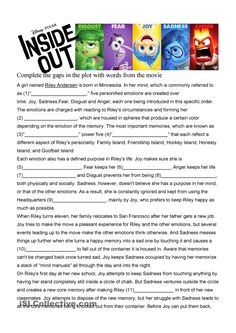Inside Out Movie Worksheet in depth B1