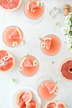 Grapefruit Rosé Mimosas - Simply Scratch Mimosas, Sparkling Grape Juice, Brunch, Rose Champagne, Drink Table, Craft Cocktails, Wine Making, Mixed Drinks, Vases