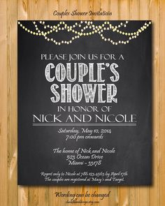 Printable Couples Shower invitation, custom Party invitation, custom chalkboard invite by chalkboarddesign on Etsy https://www.etsy.com/listing/182622385/printable-couples-shower-invitation