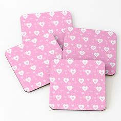 Heart Patterns, Coaster Set, Colorful Backgrounds, Pink White, Coffee Mugs, Hearts, It Is Finished, Art Prints, Printed