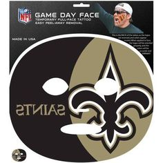 NFL New Orleans Saints Game Day Face Temporary Tattoo, Multicolor