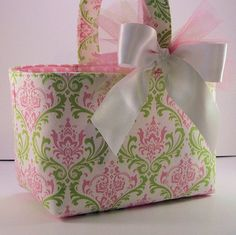 Easter Fabric Basket Bin Organizer Storage Container - Pink Green and White Damask on Etsy, $18.00