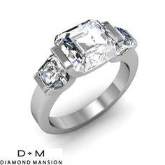 0.50 ct Bar Setting w/ Asscher Cut Sidestones 3-Stone Band-14k White Gold Asscher Cut Engagement Rings #asscher #asscherdiamonds #asschercut #asschercutengagementrings $1200