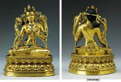 White Tara Bronze Figure. Tibet, 15th century  Well cast seated in dhyanasana on a double-lotus base with beaded rims, her right hand lowered in varada and her left hand raised in vitarka mudra holding the stem of a lotus bud issuing from the base and rising up to her shoulder, a corresponding lotus flower at her right shoulder, wearing a diaphanous dhoti incised with a floral scroll border, a sash of beaded festoons, armlets and necklaces inset with turquoise, her hands and feet inscribed…