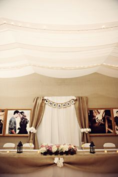 Simplistic and beautiful reception decor -- looks like they stole my idea of a candy/dessert bar!!