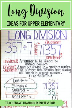 Are you teaching long division in upper elementary (fourth, fifth grade). It can be a tough concept for students to understand but I have a number of engaging activities that have worked in my room. Take a sneak peek into how I teach long division. #mathcenters #math #upperelementary