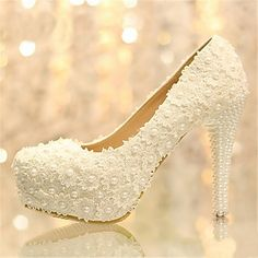 Women's Shoes Platform Stiletto Heel Pumps with Pearl Wedding Shoes More Colors available - USD $ 49.99