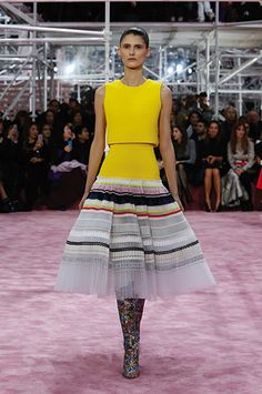 Christian Dior SS15 Haute Couture Fashion Show | Silhoutte 46: Pleated and embroidered multi-coloured ribbon and bright yellow wool 2 pieces dress. ☛ More fashion shows at http://camile.se