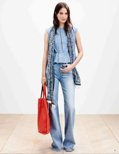 Pin for Later: See Every Piece From Madewell's Spring Collection Madewell Spring 2015 Summer Lookbook, Spring Shirts, Wide Leg Jeans, Denim Jeans, Denim Shoes, Denim Top, Dark Denim, Boyfriend Jeans, Flare Jeans