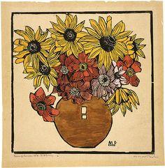 Margaret Preston - Dahlia and sunflower Margaret Rose, Margaret Preston, Henri De Toulouse Lautrec, Australian Painting, Australian Artists, Gustav Klimt, National Art, Pottery Designs, Flower Art