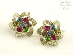 Sarah Coventry Vintage Earrings 1960s Color Spray Pastel Rhinestones by bctreasuretrove on Etsy
