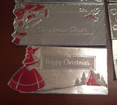 9 Vintage 1930s Silver Pink Red Foiled Christmas Package Gift Tags Unused Diecut | eBay