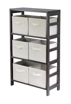 Capri 3-Section M Storage Shelf with 6 Foldable Beige Fabric Baskets