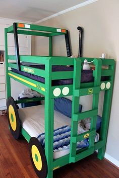 When I was a kid, a bed shaped like a low-slung race car was the hot item among bedroom decor for young boys. It gained an extra bit of panache by being prominently featured in almost every episode of 'Silver Spoons' as the bed of Ricky Stratton, the rich kid with an arcade in his living room and every cool toy known to man. Here is a much more down to earth take on the same concept, with the added bonus of being handmade by a dedicated dad. Eat your heart out, Stratton!