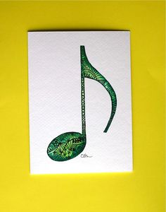 Watercolor card, (No. 218), Zentangle musical note, music, zentangle, musical note, music art, greeting card
