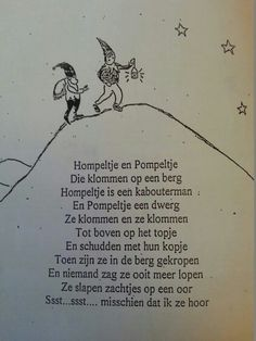 Versje 'Hompeltje en Pompeltje.' Dutch Quotes, Yoga For Kids, Prehistory, Reggio, Nursery Rhymes, Fun Learning, Wisdom Quotes, Gifts For Kids, Poems