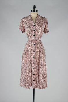 1940s rayon print dress