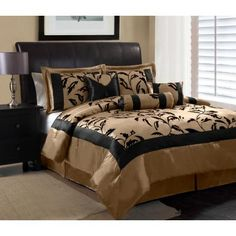 AMAZING SALE - $39.99 for this awesome 7 Piece Queen Amelia Black and Tan Flocked Comforter Set
