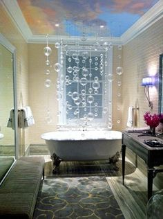 like the bubbles and the sky ceiling, great place to relax