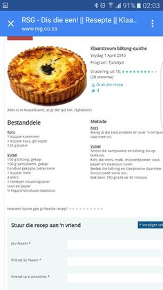 Quiche Recipes, Tart Recipes, Veggie Recipes, My Recipes, Appetizer Recipes, Cooking Recipes, Favorite Recipes, Braai Recipes, Kos