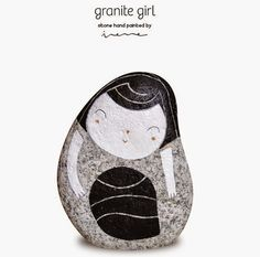 Granite girl by IreneFenollar on Etsy, Size / Dimensiones: 18 x x 7 cm Weight/ Peso: Kg. Pebble Painting, Pebble Art, Stone Painting, Rock Painting, Stone Crafts, Rock Crafts, Painted Rocks, Hand Painted, Story Stones