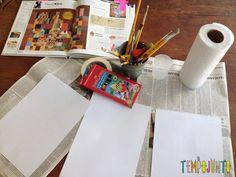 Papel sulfite, fita crepe, aquarela ou lápis aquarelável, pincel, papel toalha, pote de água
