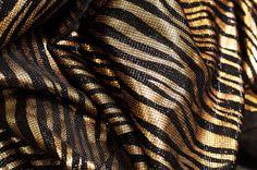 Fabric : knit foil print.  #stripes #animalskin #black #gold #copper #shine #shimmer #luxuary #textile #fabric #knit #foil #print