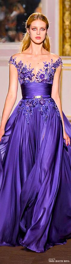 Zuhair Murad Couture Love this color, but why does everyone feel the need to have so much exposed at the top? Beautiful Gowns, Beautiful Outfits, Elegant Dresses, Pretty Dresses, Traje Black Tie, Glamour, Purple Fashion, Mode Style, Purple Dress