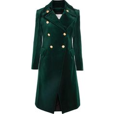 Pierre Balmain Cotton-blend velvet double-breasted coat ($1,975) ❤ liked on Polyvore featuring outerwear, coats, emerald, double breasted coat, button coat, green velvet coat, velvet coat and military coats
