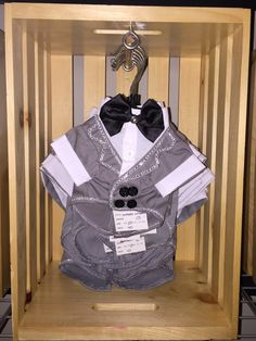 "‪""Shades of Gray"" a gray pet tuxedo jacket with attached white button-up shirt and black bow tie featuring hand-embellished lapel and bow tie‬"