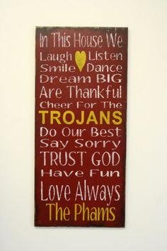 Trojans Family Rules Sign Custom Sign by RusticlyInspired on Etsy