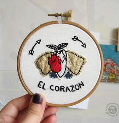 Witch decor | Witch home decor | Witchy gift | Moth decor | Moth embroidery | Heart embroidery