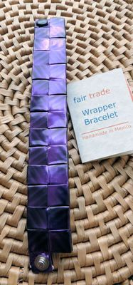 Recycled Juice Wrapper Stud Bracelet handmade in Mexico, Fair Trade $12.99