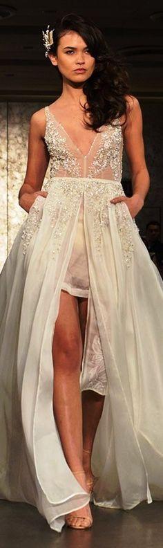 Inbal Dror Fall 2016 wedding dress bridal V-neck tulle split center sexy beautiful flowy A-line dress