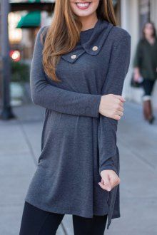 Pure Color Turn Down Collar Long Sleeve Dress