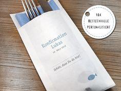 10+x+Bestecktasche+Kommunion+Konfirmation+Fisch+von+die-feinepapeterie+auf+DaWanda.com