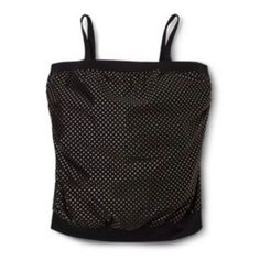 03440f4bf99d6 New Retro Pure Energy Black Gold Pin Dot Polka Dot Blouson Swim Top 24W  Free Clothes