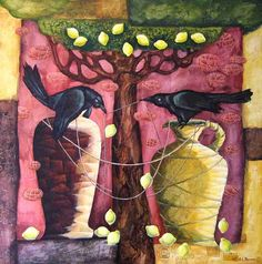 Look closely into the characters of these birds. Itrsquos not simply a friendly chat but a conversation turning into dispute. Itrsquos like a tug of war ndash everyone is tryi. Australian Art, Contemporary Paintings, Modern Art, Whimsical, Original Paintings, Arts And Crafts, Birds, Studio, Creative