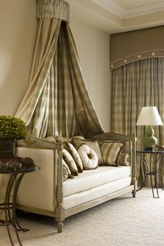 Slightly arched cornice with matching drapery panels beneath and matching corona~bed crown above the daybed. French Daybed, Bed Crown, Drapes Curtains, Valances, Plaid Curtains, Drapery Panels, Custom Window Treatments, Interior Decorating, Interior Design