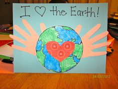 "cute Earth Day project- I would add words  like: ""We are helping hands for the Earth,"" perhaps."