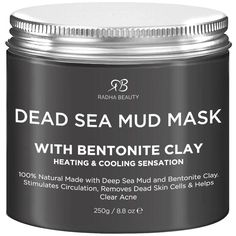 Radha Beauty Dead Sea Mud Mask - 100% Natural & Mineral-rich formula absorbs excess oil and removes dead skin cells, dirt and toxins revealing radiant and healthy looking skin. Dead Sea Mud Mask creates a heating and cooling sensation while stimulating circulation and refining skin texture, clarity and tone.