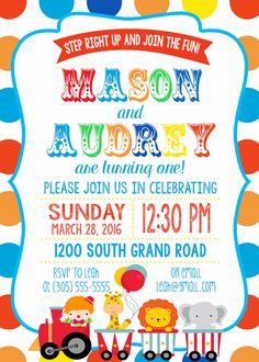 Twin Circus Birthday Party Invitation Boy Girl Twins Polka