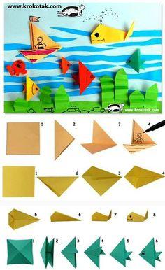 paper-fish-paper-origami-paper-fish More – Lily Black – – pez-de-papel-papiroflexia-origami-paper-fish More paper-fish-paper-origami – BuzzTMZ Origami Simple, Kids Origami, Origami And Kirigami, Origami Fish, Origami Paper, Origami Boxes, Dollar Origami, Origami Animals, Summer Crafts