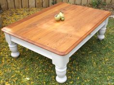 Solid Rimu and Matai Coffee Table Antique White Chalk Paint