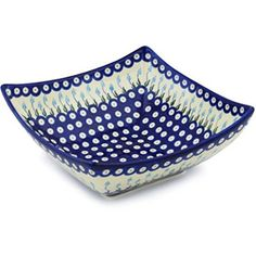 Ceramika Bona H0832H Polish Pottery Ceramic Square Bowl Hand Painted, 11-Inch