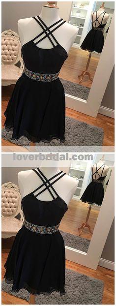 Sexy Backless Short Rhinestone Black Homecoming Dresses 2018, CM485 #homecoming #homecomingdresses #homecoming2018 #homecomingdresses2018