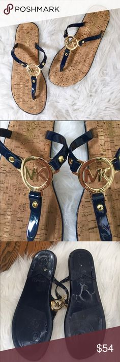 Michael Kors Navy & Gold Cork Jelly Flip Flops Gorgeous navy & gold Jelly flip flops by Michael Kors. Cork footbed. Worn twice - in EUC. Michael Kors Shoes Sandals