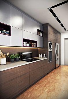 Design Your Kitchen, Contemporary Kitchen Design, Kitchen Cabinet Design, Interior Design Kitchen, Kitchen Decor, Kitchen Ideas, Modern Design, Interior Modern, Kitchen Layout